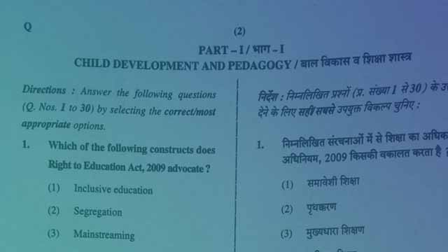 CTET Previous Year Question Paper in Hindi